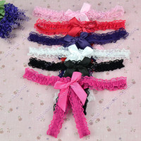 Wholesale Women s Sexy Butterfly Lace Open Butt Thongs G string V string Panties Knickers Underwear Colors