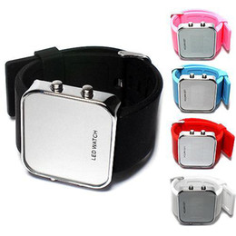 Wholesale Square Silicon Watches - S5Q LED Luxury Jelly Silicon Sport Watch Digital Mirror Unisex Wrist Watch New AAAALD