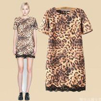 Hotsale O- neck Short Sleeve Leopard Lace Women Straight Casu...