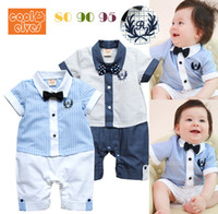 Boy Summer  11335 boys gentleman rompers baby bow tie short sleeve bodysuits children popular clothing kids summer garment 2 color ttgmy