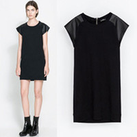 Hotsale O- neck Short Sleeve PU Patchwork Women Straight Casu...
