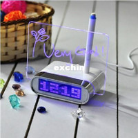 Wholesale LCD Digital Alarm Clock Thermometer Port USB HUB Message Board Green Light
