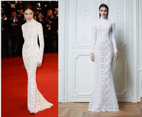 Cheap Zuhair Murad High Neck Arabic White Lace Evening Gowns Elsa Zylverstein Long Sleeve Evening Prom Celebrity Dresses Floor Length