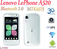Wholesale Sale Lenovo LePhone A520 MTK6573 Android OS Inch IPS Screen G GPS WiFi Bluetooth White