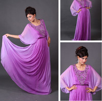Reference Images Crew Chiffon 2014 Hot Selling Long Sleeves Jewel Neck Beaded Purple Chiffon Arabic Dubai Abaya Kaftan Evening Dresses 0108B