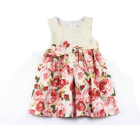 Wholesale Fantastic Children Girls Summer Roses Printed Pattern Bow Sleeveless Dresses Flowers Princess Cotton Dress B2524
