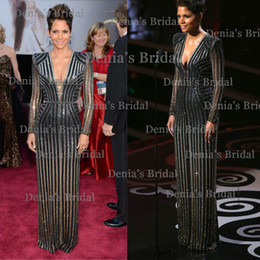 Wholesale 2014 Vintage Sheath Illusion Long Sleeves V neck Sequins Oscars Halle Berry Academy Awards Evening Vestidos Celebrity Dresses Dhyz