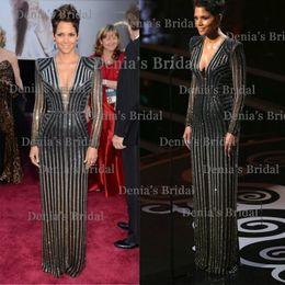 Wholesale 2014 Vintage Sheath Illusion Long Sleeves V neck Sequins Oscars Halle Berry Academy Awards Evening Vestidos Celebrity Dresses Dhyz