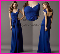 royal blue wedding dresses - Royal Blue Cap Sleeve Long Floor Length Chiffon Bridesmaid Wedding Guest Dresses B2236