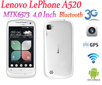 Wholesale DHL Lenovo LePhone A520 MTK6573 Android OS Inch IPS Screen G GPS WiFi Bluetooth White