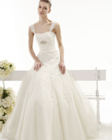Wholesale Elegant Charming A line Empire Sheer Spaghetti Straps Apppliques Organza Wedding Dress with Crystal