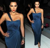 Cheap Reference Images one shoulder dress Best One-Shoulder Elastic Satin split celebrity dress