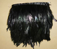 Wholesale yards Black Coque Rooster Tail Feather Trimming Fringe Rooster Hackle Feather Trim Fringe