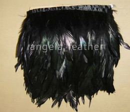 Free Shipping 10yards lot Black Coque Rooster Tail Feather Trimming Fringe , Rooster Hackle Feather Trim Fringe