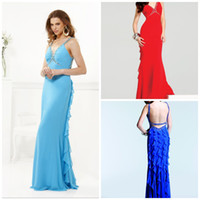 Wholesale Sheath Column Spaghetti Straps Sleeveless Floor Length Backless Evening Dresses Chiffon Draped Beads Faviana Blush Seafoam Royal Blue
