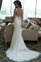 Cheap 2014 Lace Berta Spaghetti Wedding Dresses Mermaid Sheath Illusion Backless Sexy Wedding Bridal Gowns Beach Garden Court Train