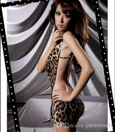 Wholesale Super Sexy Women s V neck Halter Backless Leopard One Piece Dress Lingerie Dress