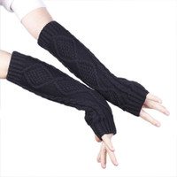 Wholesale New Stylish Lengthen Arm Fingerless Gloves Winter Warm Long Knitted Ink Color Gloves Arm Mittens For Lady DME7
