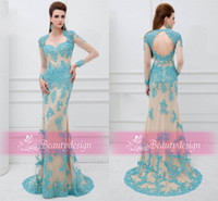 Wholesale lace formal prom dresses long sleeves backless applique lace sequins sweep train sheath evening gowns AN41101