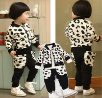 Boy Spring / Autumn Long Spring Autumn new style Boys cow Sets Casual long sleeve jacket coat + pants 2pcs Kids Clothing Set Children Suit TS197