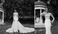 Wholesale Vintage Sexy Piece Detachable Sheer Wedding Dresses Lace Long Sleeve High Neck Berta Winter Sheath Illusion Chapel Train Bridal Gowns