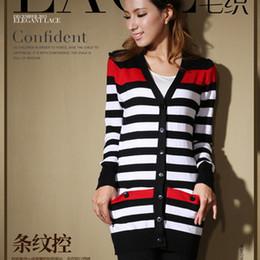 Wholesale Women Stripe Sweater Knitwear Cardigan V Neck Hit Color Women Sweaters Knitwears D244
