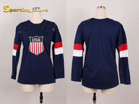 Cheap 2014 American Olympic Blank Hockey Jersey for Women Well Stitched Logos High Quality Hockey Apparel Ladys New Style Hockey Wears for Sale