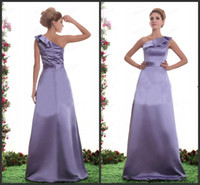 Wholesale 2014 Elegant Cheap Bridesmaid Dresses Sheath One Shoulder Pleat Skirt Floor Length Taffeta Formal Dresses