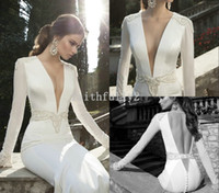 Cheap Vintage Deep V Neck Berta Winter 2014 Wedding Dresses Long Sleeve Beads Sheath Sheath Illusion Sheer V Backless Bridal Gowns Button