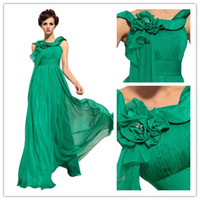 Wholesale Elegant Stylish Jade Green Scoop Neck Floor Length Evening Gown A Line Chiffon Beaded Hand Made Flower Prom Gown On Sale DL132000249