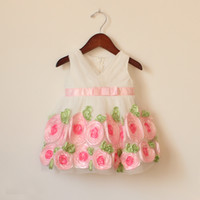 baby girl infant toddler lace dress flower tutu dress floral...