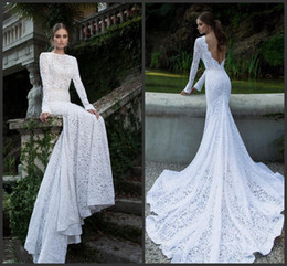 Wholesale Slim Fitting Mermaid Bridal Dresses - 2014 Berta Sexy Slim Fit Mermaid Gown White Lace Long Sleeve Chapel Train Backless Wedding Bridal Dresses Bride Gowns