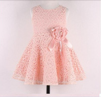 Wholesale Hot sale New Summer children clothing baby girls korean princess dress kids lace bow flower party costumes suit Y child