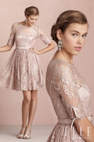 Cheap 2014 Elie Saab A-Line Scoop Neckline Short Length Sheer Half Sleeve Charming Lace Applique Sash Simple Bridesmaid Dress Free Shipping