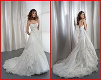 Wholesale Simple A line Wedding Dresses with Sweetheart Lace Up Beaded Wedding Gowns