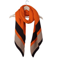 Wholesale Women New Fashion Faux Cashmere Scarf Stripe Winter Warm Knitted Shawl Orange CM DRN3