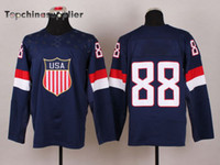 Ice Hockey Men Full Team USA #88 Kane 2014 Olympic USA Hockey Jersey Navy Blue Field Hockey Jersey Hot Sale Players Sports Jerseys Athletic Apparel Mix Order