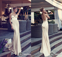 Wholesale Sexy Stain Champagne Evening Celebrity Dresses Backless Party Nurit Hen Long Prom Cheap Ball Gowns Formal Spaghetti Dress Vestidos