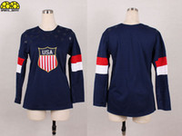 Ice Hockey Women Full 2014 USA Olympic Jerseys National Team American Ice Hockey Jerseys Dark Blue Women Jerseys Hot Sale Athletic Outdoor Apparel with Gold Leafs