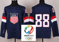 Cheap 2014 Sochi Olympic Team USA 88 Patrick Kane Dark Blue Ice Hockey Jerseys Emboridered Logo New,USA Team Olympic hockey jerseys