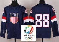 Ice Hockey Men Full 2014 Sochi Olympic Team USA 88 Patrick Kane Dark Blue Ice Hockey Jerseys Emboridered Logo New,USA Team Olympic hockey jerseys