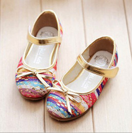 Wholesale 2014 Sping Kids Girls Shoes Color knit sequins golden serging bowknot cute girl shoes