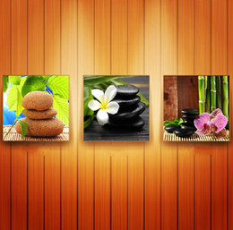 3 pieces Living Room Wall Painting Stone and flowers picture wall art oil Painting Home Decorative Art Picture Canvas Prints