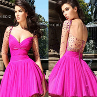 Beautiful Fuchsia Sweetheart Neckline Short prom dresses par...