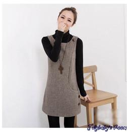 Wholesale 2016 Spring woolen Vest dress O neck sleeveless A line tank sweater dress for fashin women