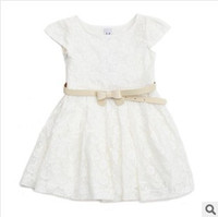 Wholesale New Arrival Kids Dress Princess Girls Lace Dress Pretty Girls Lovely Short Sleeves Dress