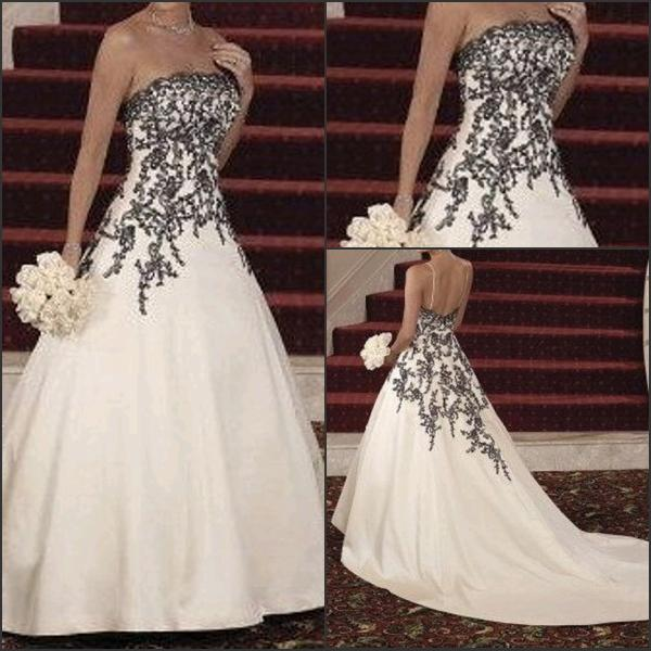 62014 wedding dress a line white satin black lace applique for White wedding dress with blue accents