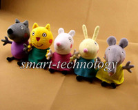 Cheap New item 2014 New Peppa pig Pink Pig series Pepe friends 5 styles Dog cat sheep rabbit elephant 19CM Plush Doll Toy Stuffed
