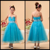 Wholesale Cute Sweetheart Strapless Ruched Sky Blue Tulle Ankle Length Flower Girl Dresses With Beading