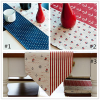 Wholesale Fashion Mediterranean Linen Table Runners Long Placemats Dining Sailing Era Flag Table Runners